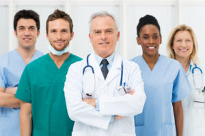 team of doctors and physicians at a hospital