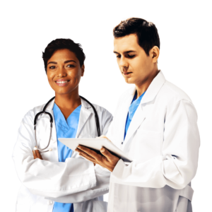 male and female doctors wearing white coats